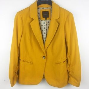 The Limited Yellow Ruched Sleeve Blazer